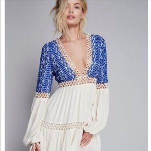 Free People Blue and White Long Sleeve Mini Dress